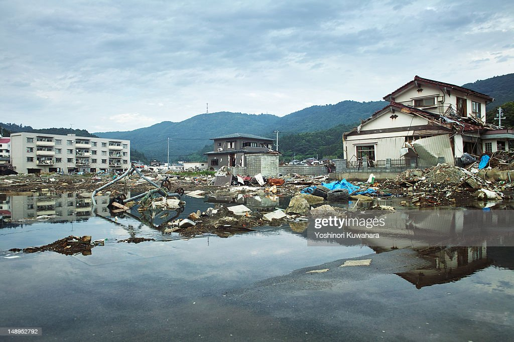 Tsunami damage in Ayukawahama : Stock Photo