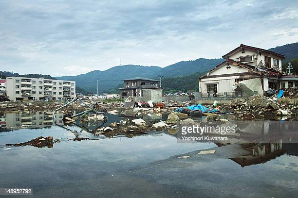 tsunami damage in ayukawahama - earthquake stock pictures, royalty-free photos & images