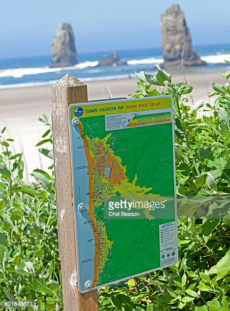 tsunami evacuation map cannon beach - evacuation map stock photos and pictures