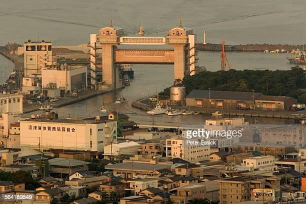 Tsunami floodgate at the Nuzamu Port, Japan.