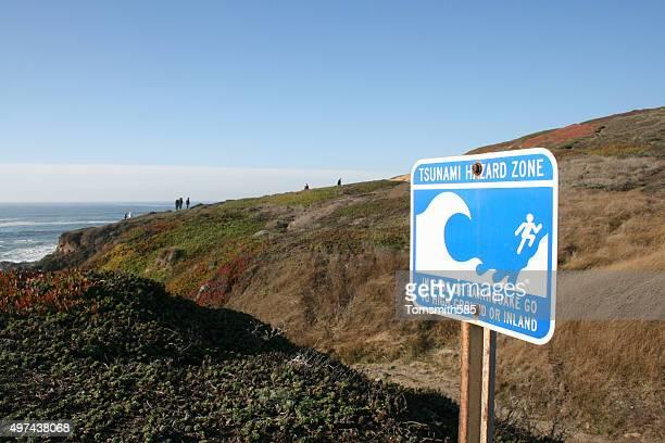 tsunami dans la zone de danger - faille de san andreas photos et images de collection