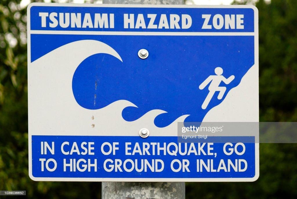 tsunami hazard zone warning sign western coast of alaska