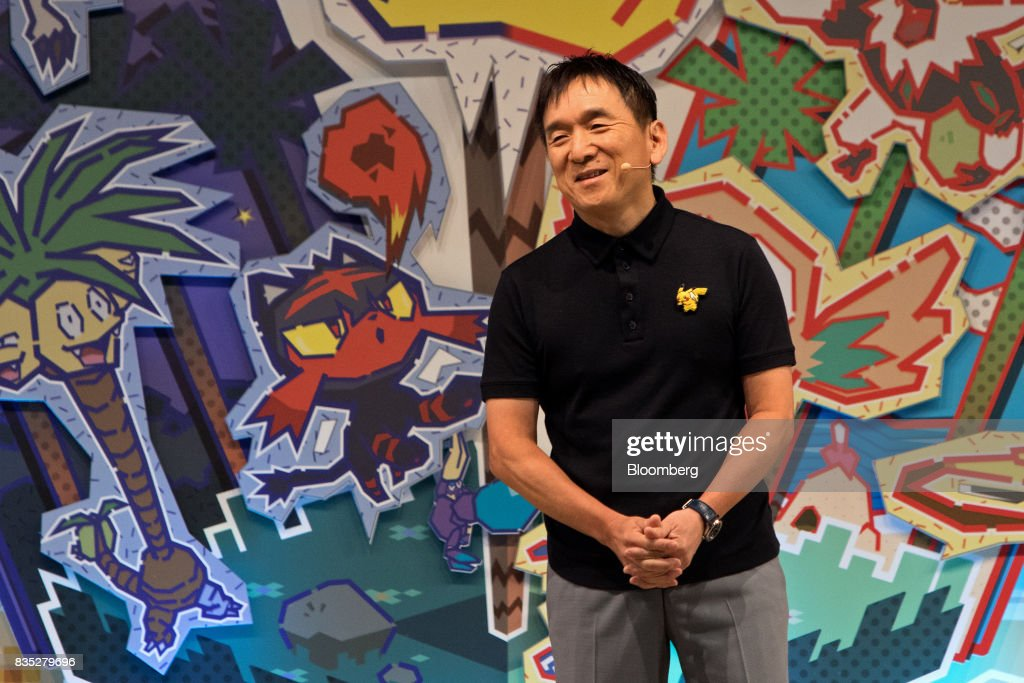 Tsunekazu Ishihara, president and chief executive officer of The Pokmon Co., speaks during the 2017 Pokmon World Championships in Anaheim, California, U.S., on Friday, Aug. 18, 2017. The invitation-only event brings the best players from around the world to compete for the title of Pokémon TCG, Video Game, or Pokkén Tournament World Champion. Photographer: Troy Harvey/Bloomberg via Getty Images