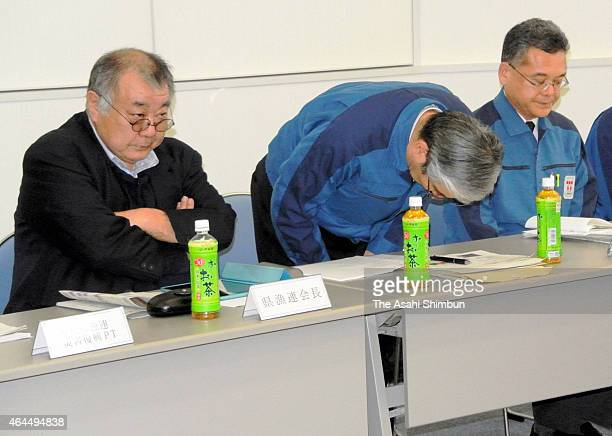 Tsunemasa Niitsuma deputy head of TEPCO's Fukushima Revitalization Headquarters apologises at a meeting with Fukushima fishermen including Tetsu...