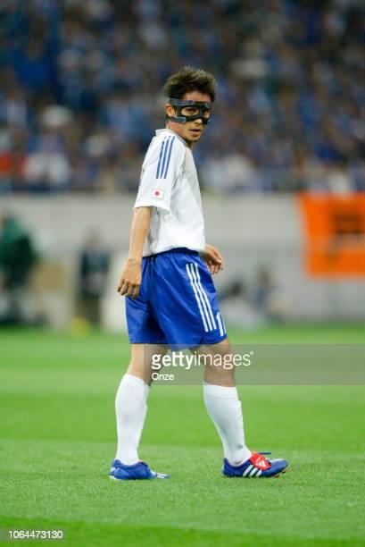 Tsuneyasu Miyamoto of Japan during the World Cup match between Japan and Belgium in Saitama Stadium in Saitama Japan on June 4th 2002