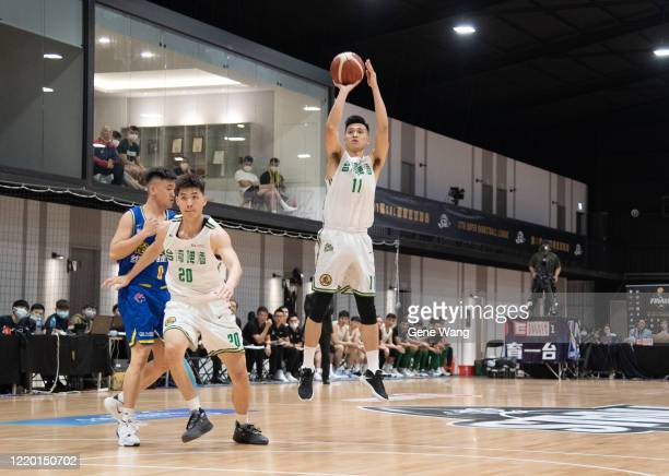 Tsung Han Huang of Taiwan Beer attempt to jump shot during the SBL Finals Game One between Taiwan Beer and Yulon Luxgen Dinos at Hao Yu Trainning...
