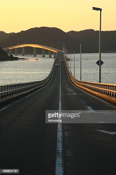 Tsunoshima Bridge at evening