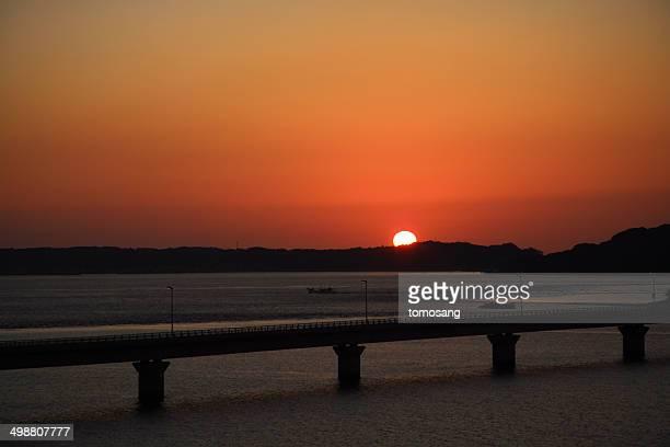 Tsunoshima Bridge at Sunset