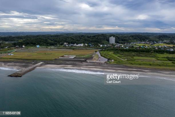 Tsurigasaki beach, the location for the Olympic surfing competition, which will be making its debut at the Tokyo 2020 Games, is pictured on August...