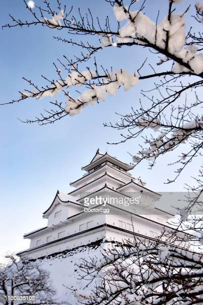 Tsuruga castle in Winter Snow Day, Aizu-wakamatsu, Fukushima, Japan
