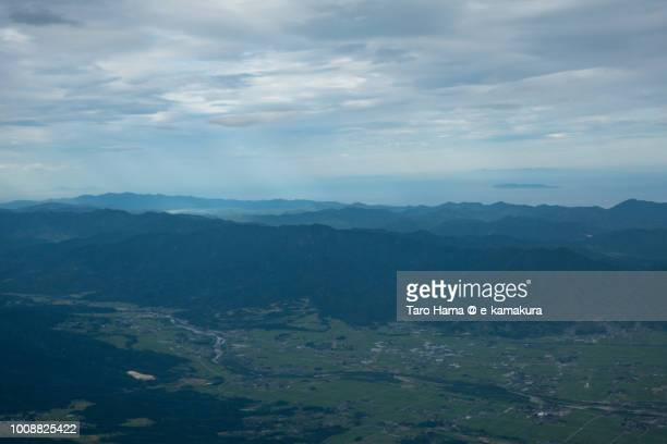 Tsuruoka city in Yamagata prefecture in Japan daytime aerial view from airplane