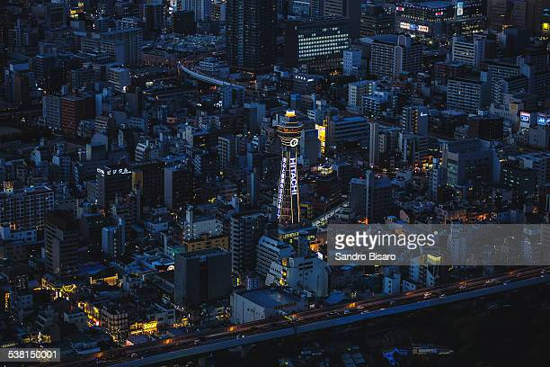 tsutenkaku tower at blue hour - 通天閣 ストックフォトと画像