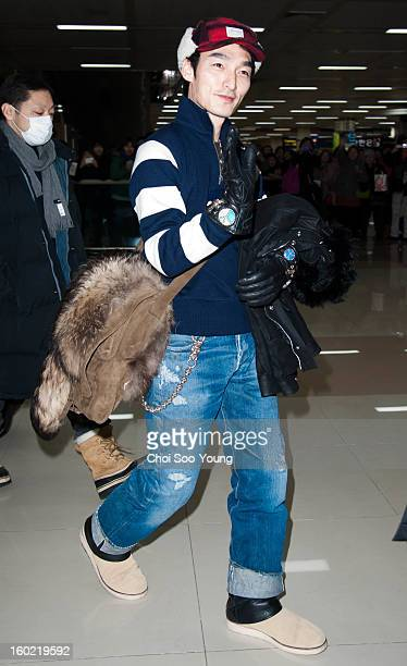 Tsuyoshi Kusanagi is seen at Gimpo International Airport on January 27 2013 in Seoul South Korea