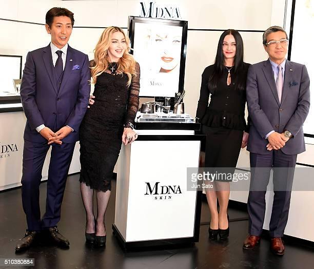 Tsuyoshi Matsushita, president of MTG Co., Ltd., Madonna, Michelle Peck, facialist to Madonna and Hiroshi Ohnishi, President and CEO, Mitsukoshi...