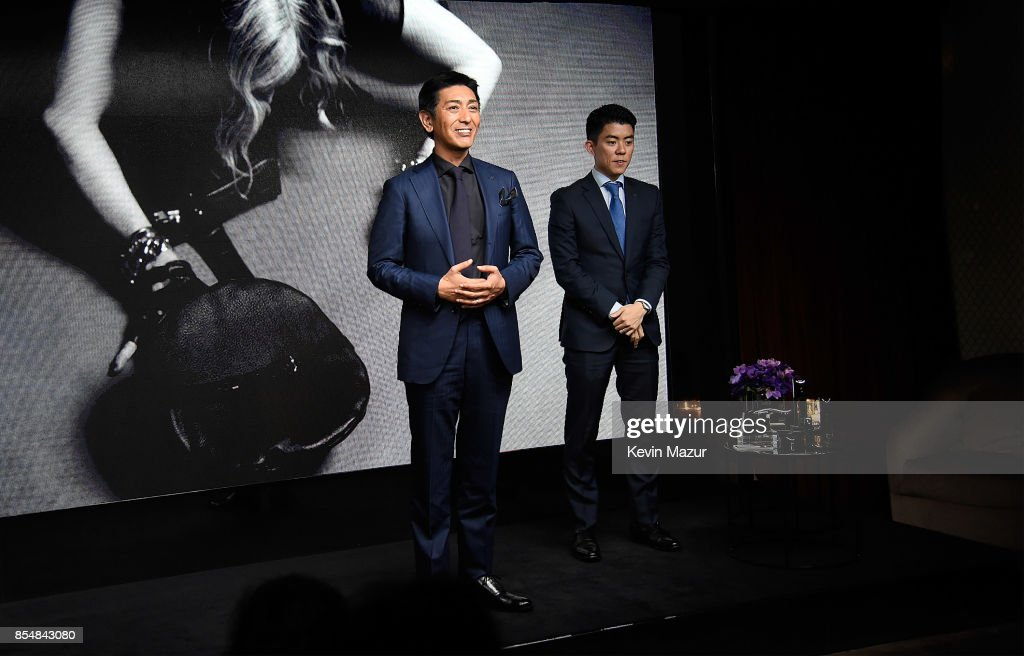 Tsuyoshi Matsushita, President of MTG Co., Ltd speaks during the launch of MDNA SKIN collection at Ludlow House on September 26, 2017 in New York City.