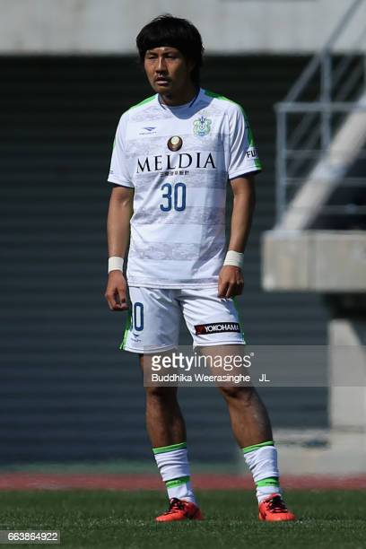 Tsuyoshi Shimamura of Shonan Bellmare in action during the JLeague J2 match between Kamatamare Sanuki and Shonan Bellmare at Pikara Stadium on April...