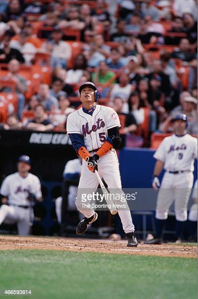 Tsuyoshi Shinjo of the New York Mets bats against the Cincinnati Reds during their game on April 15 2001 at Shea Stadium in the Flushing neighborhood...