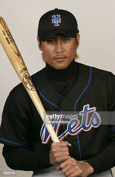 Tsuyoshi Shinjo of the New York Mets poses for a portrait during media day at Thomas J White Stadium on February 25 2003 in Port St Lucie Florida