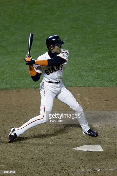 Tsuyoshi Shinjo of the San Francisco Giants at bat against the Anaheim Angels during game four of the World Series on October 23 2002 at Pacific Bell...
