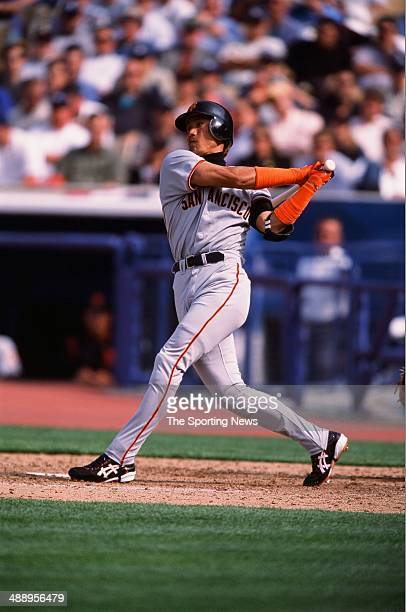 Tsuyoshi Shinjo of the San Francisco Giants bats against the Los Angeles Dodgers at Dodger Stadium on April 2 2002 in Los Angeles California