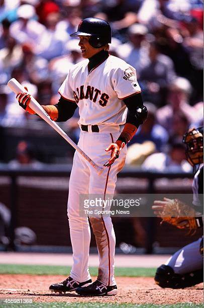 Tsuyoshi Shinjo of the San Francisco Giants bats against the Tampa Bay Rays during the game at Pacific Bell Park on June 20 2002 in San Francisco...