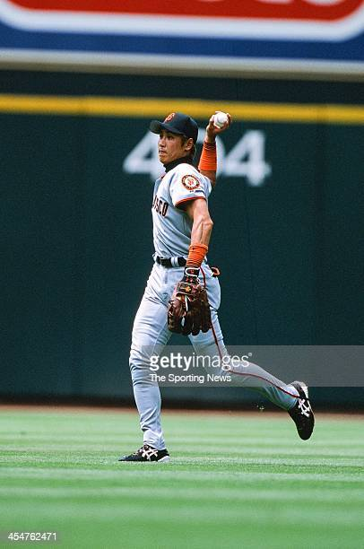Tsuyoshi Shinjo of the San Francisco Giants during the game against the Houston Astros on April 21 2002 at Minute Maid Park in Houston Texas