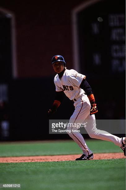 Tsuyoshi Shinjo of the San Francisco Giants runs against the Tampa Bay Rays during the game at Pacific Bell Park on June 20 2002 in San Francisco...