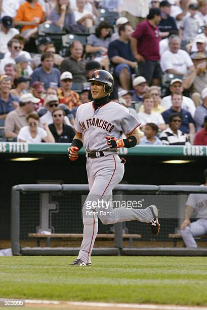 Tsuyoshi Shinjo of the San Francisco Giants runs out his first inning home run against the Colorado Rockies at Coors Field in Denver on July 2 2002...