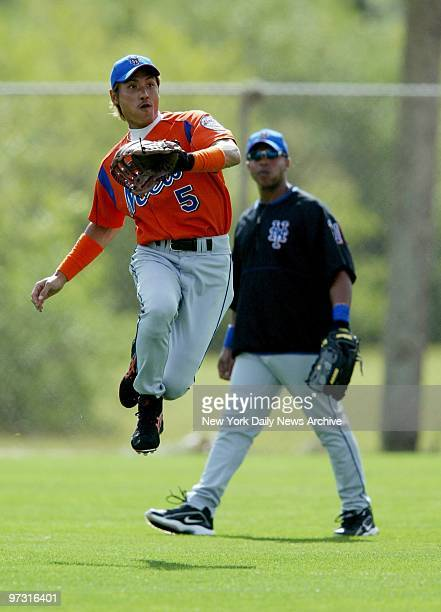 Tsuyoshi Shinjo shows his outfield flair during workout at the New York Mets' spring training camp in Port St Lucie Fla