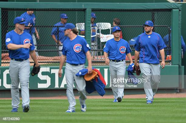 Tsuyoshi Wada of the Chicago Cubs walks from the bullpen after the Chicago Cubs defeat the St Louis Cardinals 93 at Busch Stadium on September 7 2015...