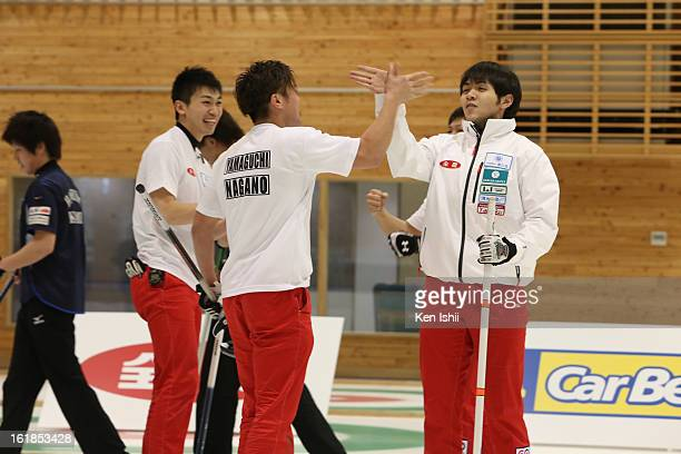 Tsuyoshi Yamaguchi and Yusuke Morozumi of SC Karuizawa Club celebrate after defeating Team Kitami in the Men's Final Match during the 30th All Japan...