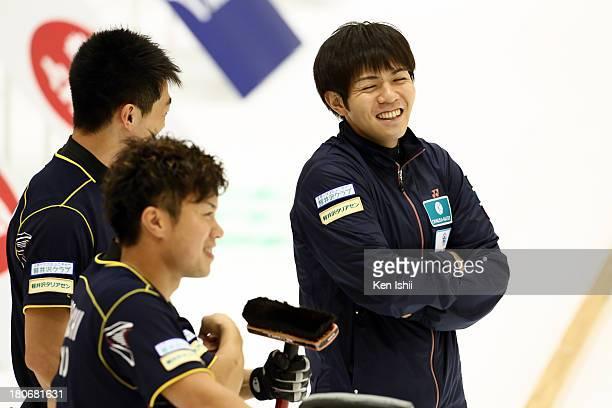 Tsuyoshi Yamaguchi and Yusuke Morozumi of SC Karuizawa speak during Game Two of the Curling Japan Qualifying Tournament between SC Karuizawa and...