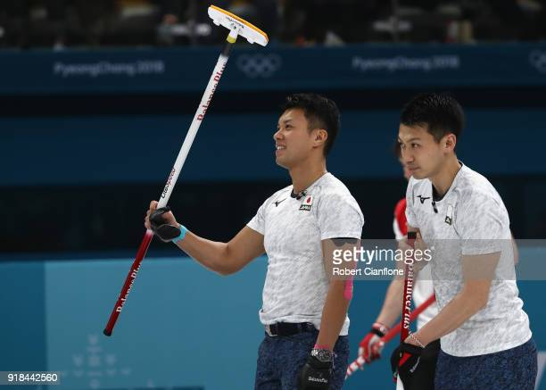 Tsuyoshi Yamaguchi of Japan waves to the crowd after Japan defeated Great Britain during the Curling Men's Round Robin Session 3 held at Gangneung...