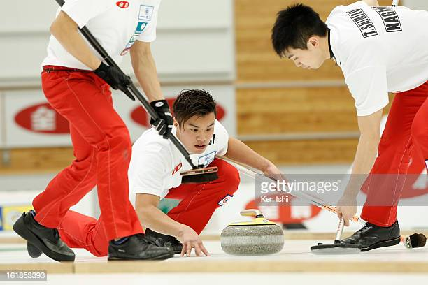 Tsuyoshi Yamaguchi of SC Karuizawa Club releases a stone in the Men's Final Match during the 30th All Japan Curling Championships at Dogin Curling...