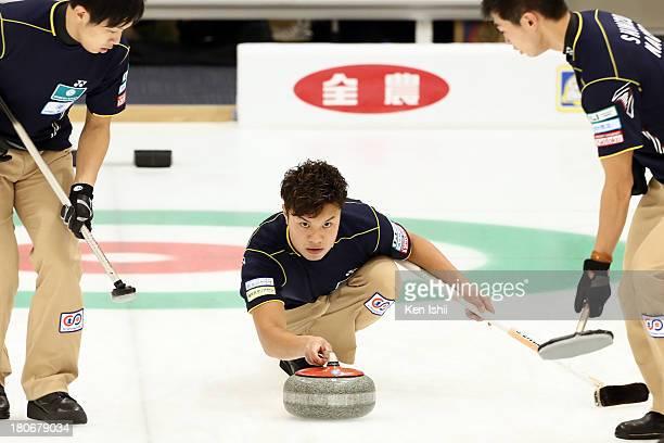 Tsuyoshi Yamaguchi of SC Karuizawa looks on after he throws a stones during Game Two of the Curling Japan Qualifying Tournament between SC Karuizawa...