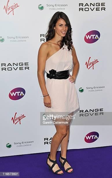 Tsvetana Pironkova arrives at the WTA Tour PreWimbledon Party at The Roof Gardens Kensington on June 16 2011 in London England
