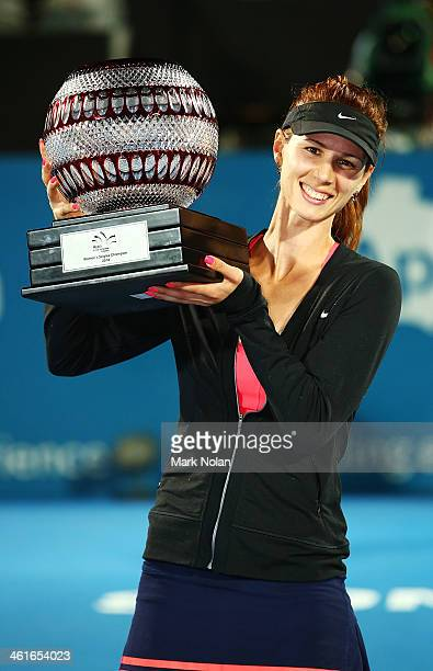 Tsvetana Pironkova of Bulgaria poses with the trophy after winning the Womens Singles Final match against Angelique Kerber of Germany during day six...