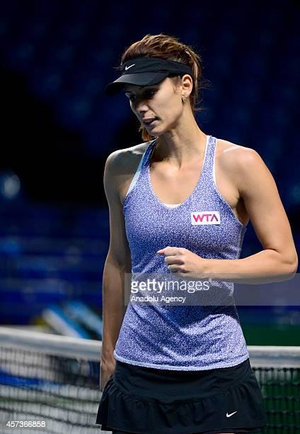 Tsvetana Pironkova of Bulgaria reacts during the women's singles tennis match between Tsvetana Pironkova of Bulgaria and Irina-Camelia Begu of...