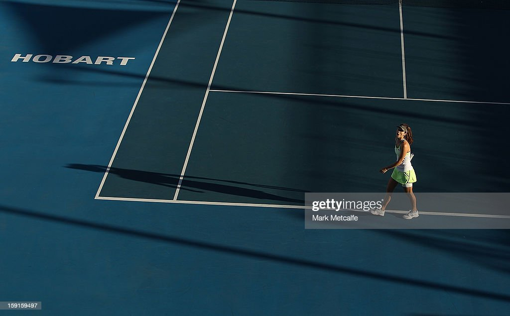 Tsvetana Pironkova of Bulgaria reacts to losing a point in her second round match against Klara Zakopalova of Czech Republic during day five of the Hobart International at Domain Tennis Centre on January 8, 2013 in Hobart, Australia.