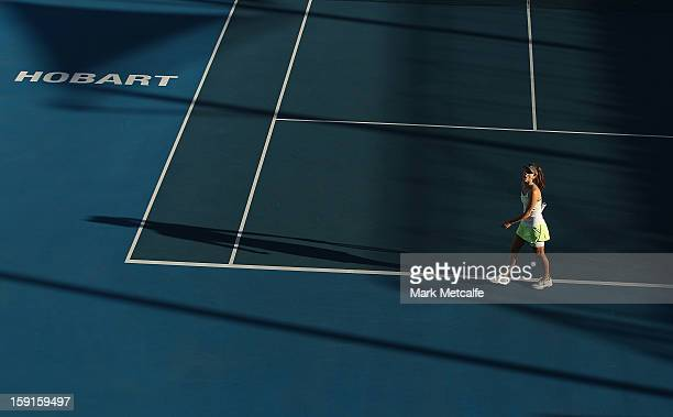Tsvetana Pironkova of Bulgaria reacts to losing a point in her second round match against Klara Zakopalova of Czech Republic during day five of the...