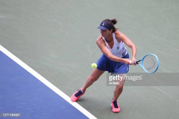 Tsvetana Pironkova of Bulgaria returns the ball during her Women's Singles fourth round match against Alizé Cornet of France on Day Eight of the 2020...
