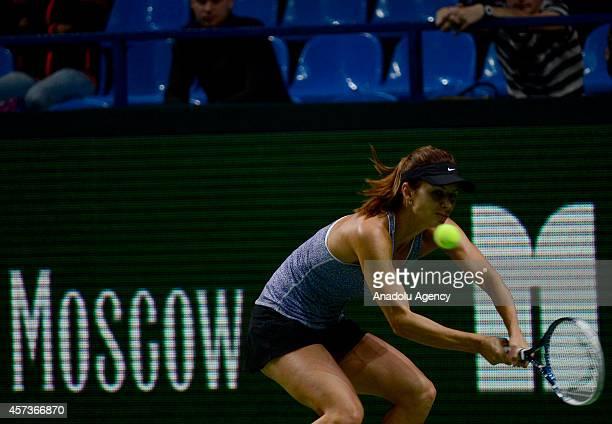 Tsvetana Pironkova of Bulgaria returns the ball to Irina-Camelia Begu of Romania during the women's singles tennis match between Tsvetana Pironkova...