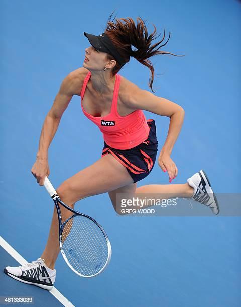 Tsvetana Pironkova of Bulgaria serves during her singles match against Sara Errani of Italy at the APIA Sydney International tennis tournament on...