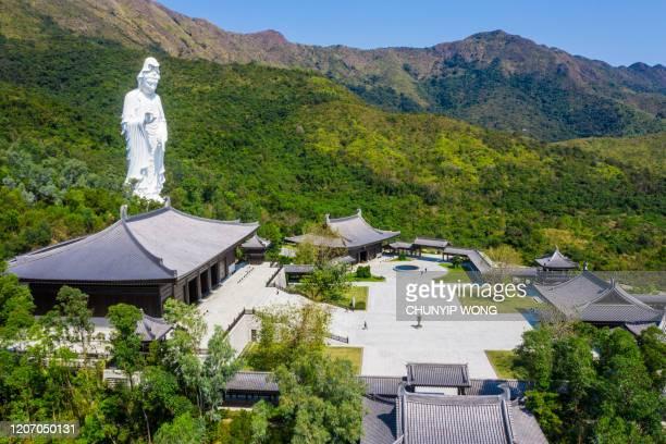 monastero buddista tsz shan a tai po, hong kong - guanyin bodhisattva foto e immagini stock