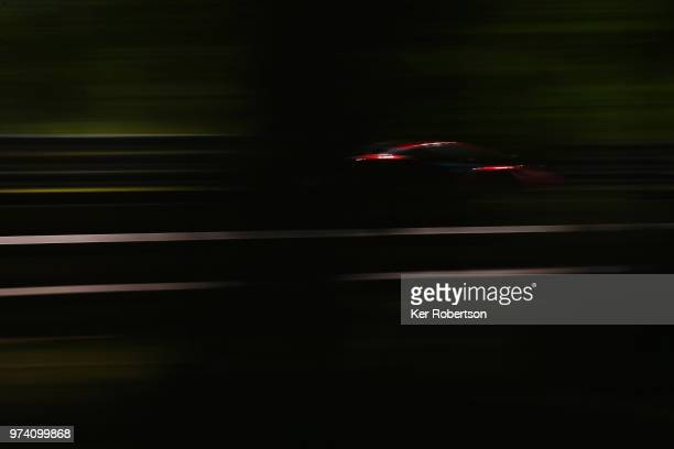 TThe AF Corse Ferrari 488 GTE EVO of Toni Vilander Antonio Giovinazzi and Pipo Derani drives during practice for the Le Mans 24 Hour race at the...