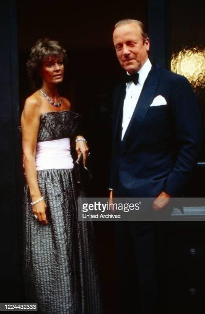 Tthe celebration of Johann Georg Hansi von Hohenzolern's 50th birthday at Sigmaringen here with his wife Birgitta of Sweden Germany 1982