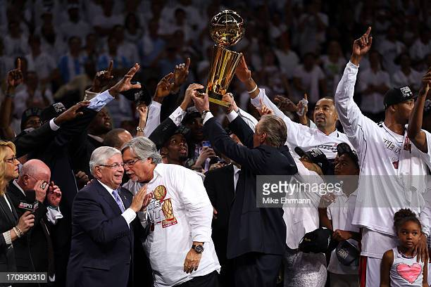 Tthe Miami Heat celebrate after defeating the San Antonio Spurs 9588 to win Game Seven of the 2013 NBA Finals at AmericanAirlines Arena on June 20...