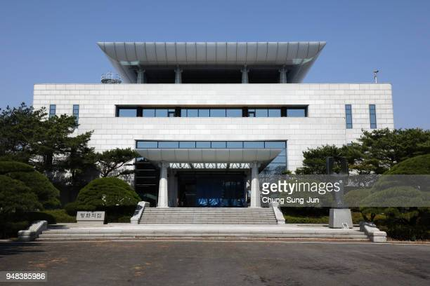 Tthe Peace House the venue of third interKorean summit is seen at the South Koreaside of the the border village of Panmunjom between South and North...