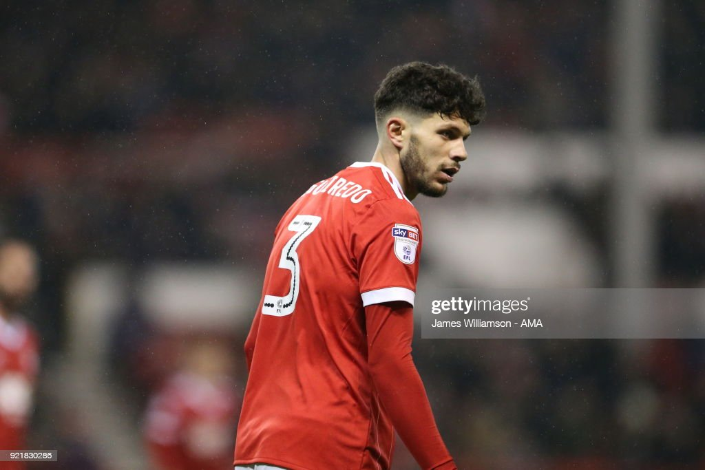 TTobias Figueiredo of Nottingham Forest celebrates after scoring a goal to make it 1-1 during the Sky Bet Championship match between Nottingham Forest and Reading at City Ground on February 20, 2018 in Nottingham, England.