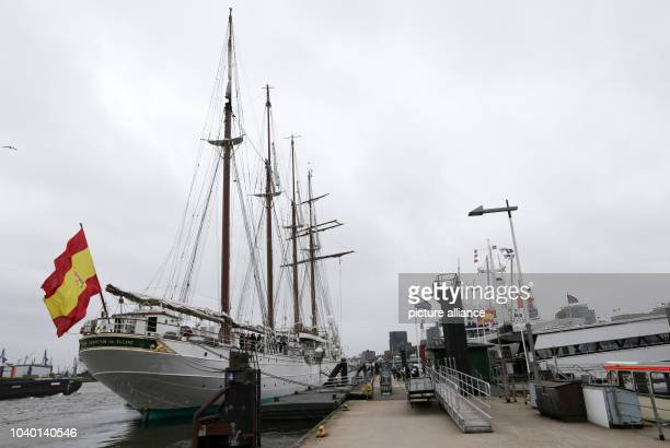 Ttraining ship Juan Sebastian de Elcano of the Spanish navy at the Ueberseebruecke in Hamburg Germany 19 June 2014 The navy training ship has docked...